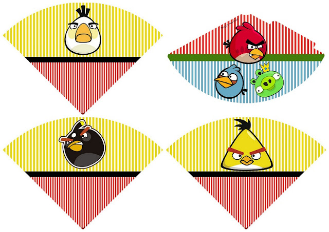 Angry Birds: Gorro y Conos para Imprimir Gratis.