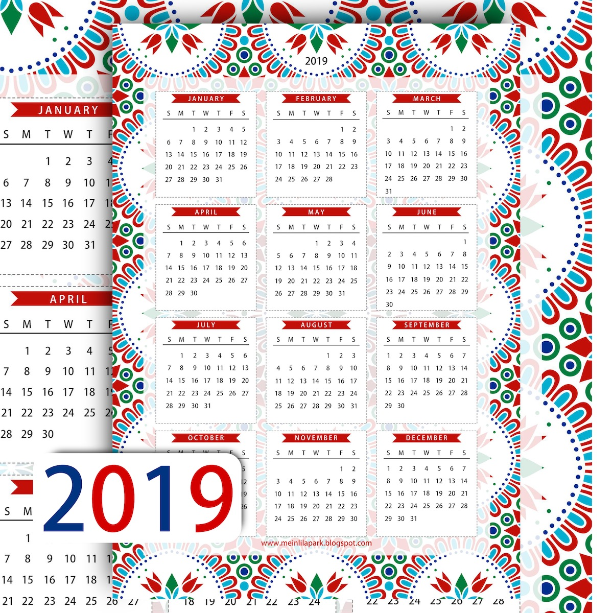 here is another free printable 2019 calendar page for you this one has a geometrical floral design and a fresh looking red and blue color scheme