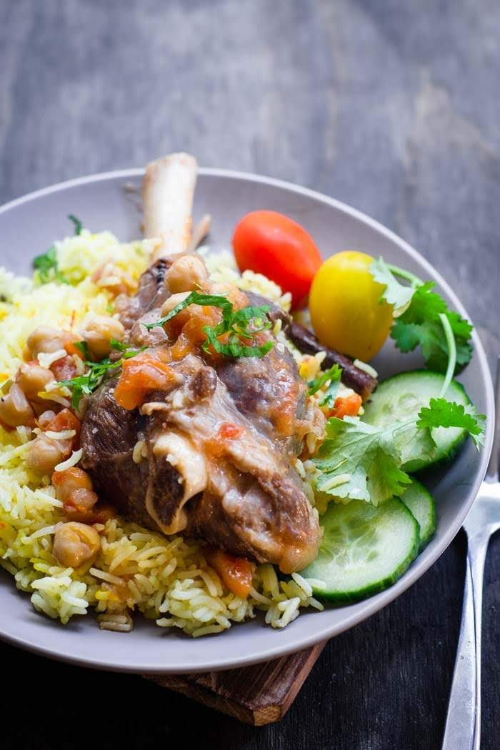 saffron rice with lamb shank image