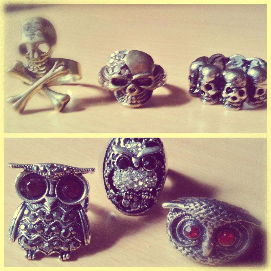 ee1a6d9cb Mais alguns anéis que eu comprei. Vocês já perceberam que eu sou louca por  anéis né  Comprei uns de caveira e uns de coruja. Alguns deles eu comprei  no ...