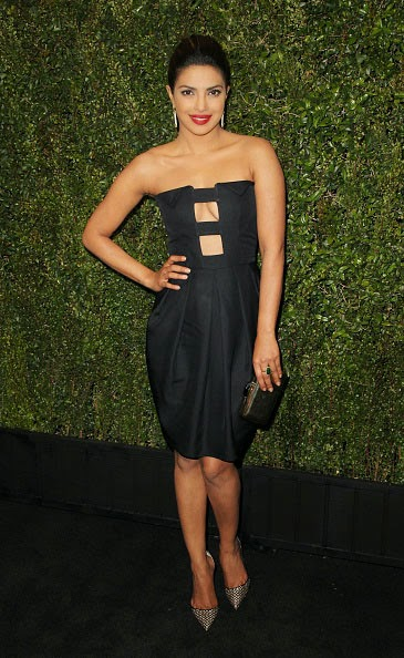 Priyanka Chopra in Black Mini-dress at Pre-Oscar Party