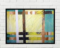 Cuadro abstracto Amarillo y Turquesa