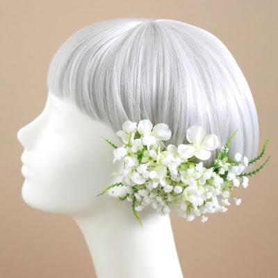かすみ草と小花の髪飾り-ウェディングブーケと花髪飾りairaka