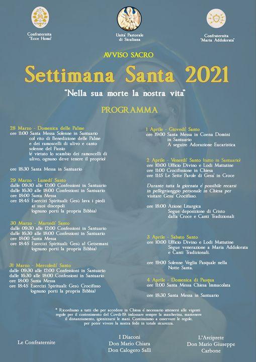 Avviso Sacro - Programma Settimana Santa 2021
