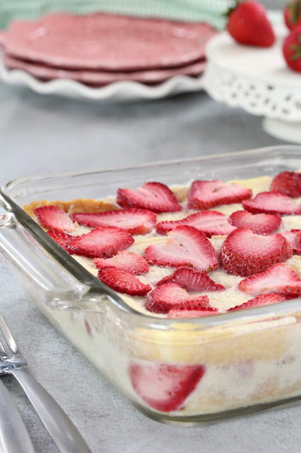 Strawberry Custard Bread Pudding