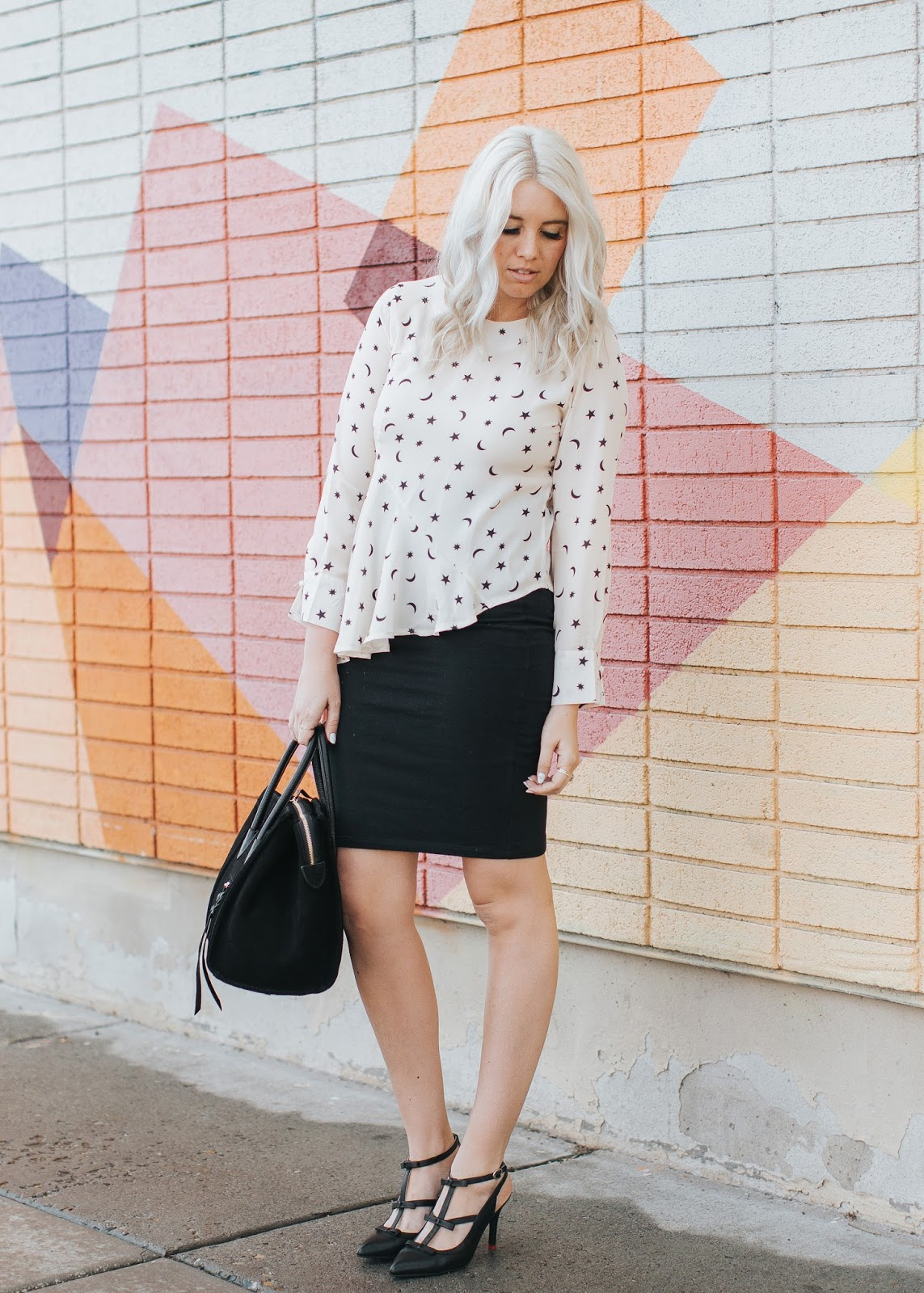 Platinum Hair, Utah Fashion Blogger, Peplum Top