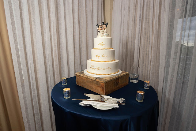 Wedding cake detail shot with Mickey and Minnie Cake Toppers