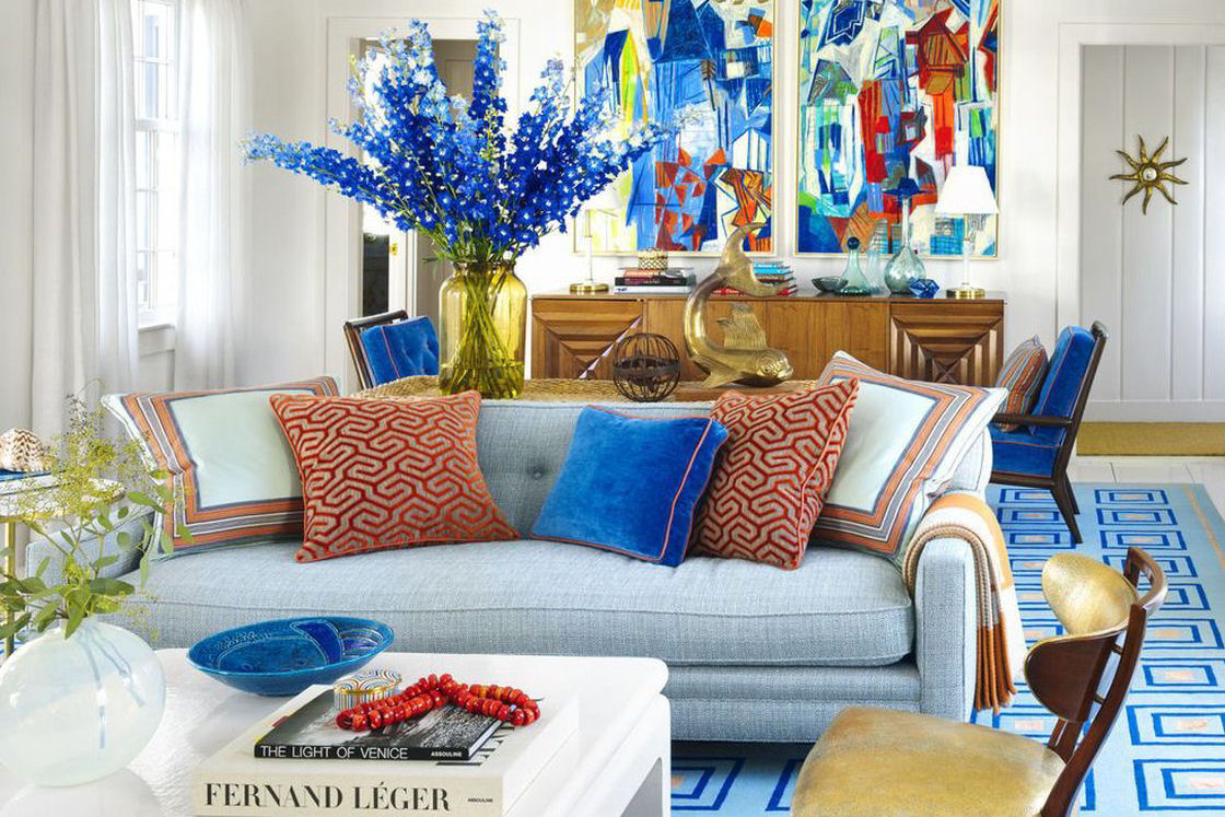 A Bold Orange & Blue Home