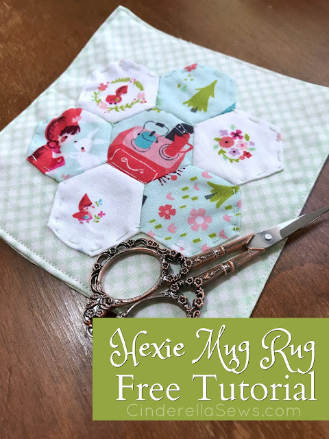 Hexie Mug Rug Free Tutorial Learn how to get started quilting with this small project! English paper piecing is easy and fun, plus these little coasters are cute and useful! #sewing #epp #englishpaperpiecing #mugrug #hexies #quilting