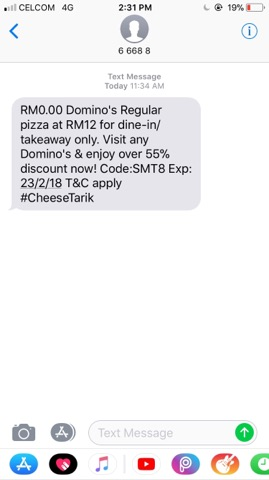 More Than 55% Off For Takeaway/Dine-In Domino's Regular Pizza. Promo Available From 21/2/18 Until 23/2/18