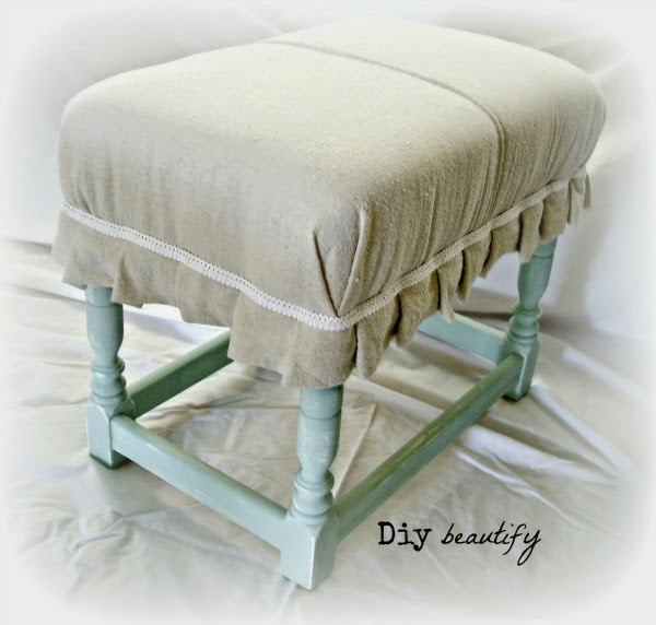 Footstool Makeover www.diybeautify.com