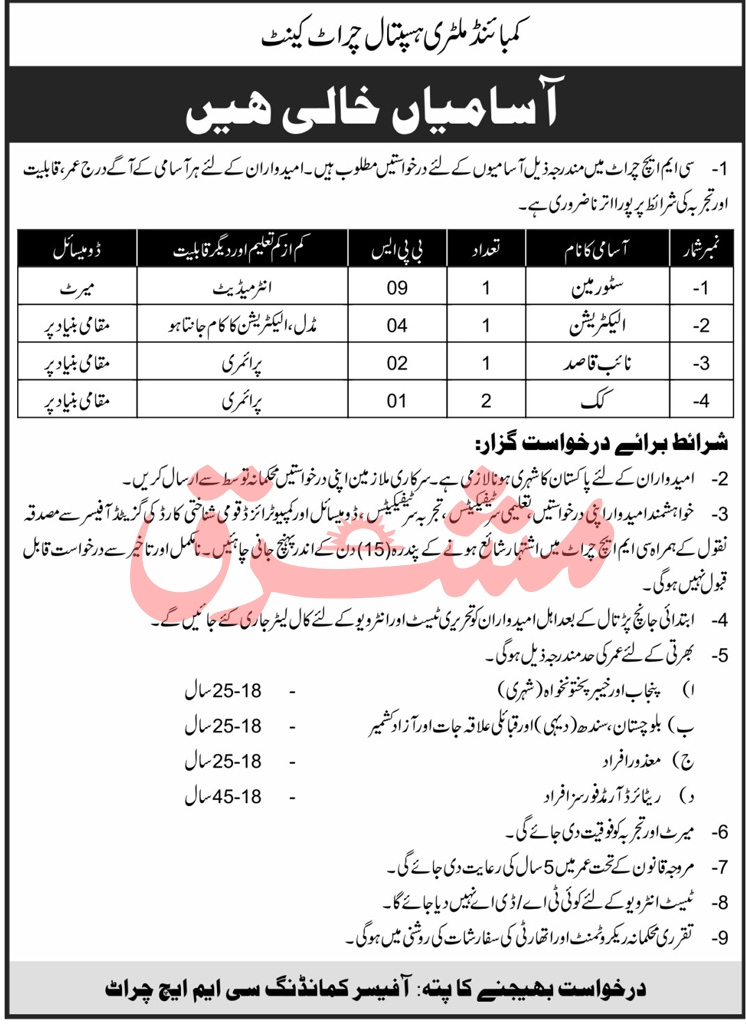 CMH Jobs 2021 - Combined Military Hospital Jobs 2021 - Chirat Jobs 2021 - New KPK Jobs 2021 - Latest KPK Jobs - Army Hospital Jobs 2021