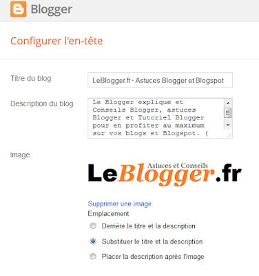Modifier l'en-tête sur Blogger