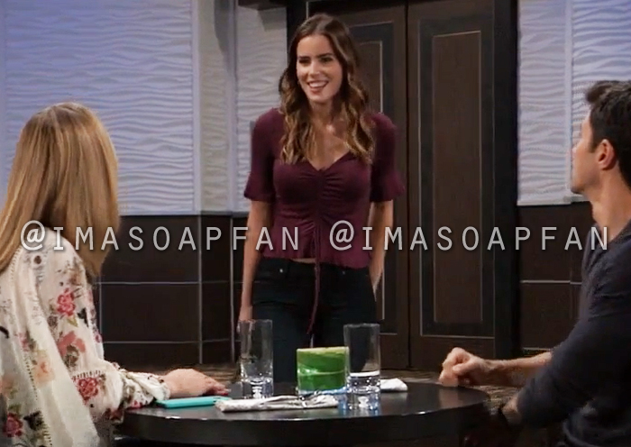 Sasha Gilmore, Sofia Mattsson, Ruched Purple V-neck Top with Bell Sleeves, General Hospital, GH
