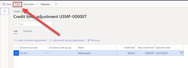 Post the credit limit adjustment journal