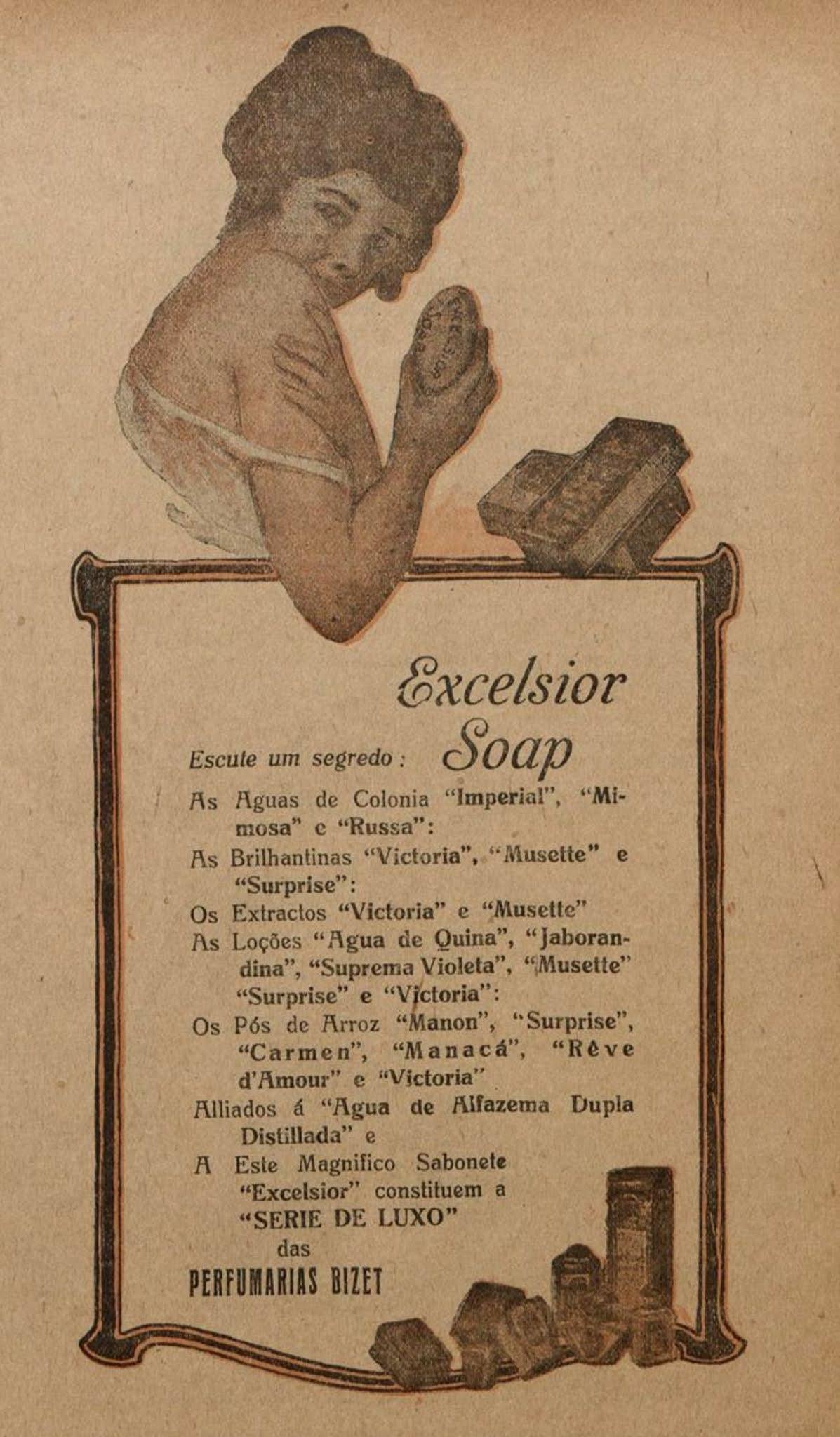 Propaganda antiga da Perfumaria Bizet veiculada em 1919