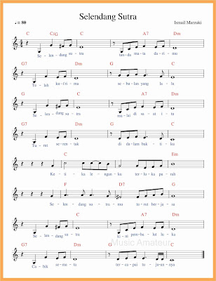 not balok lagu selendang sutra