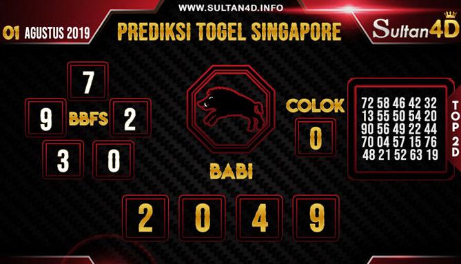 PREDIKSI TOGEL SINGAPORE SULTAN4D 01 AGUSTUS 2019
