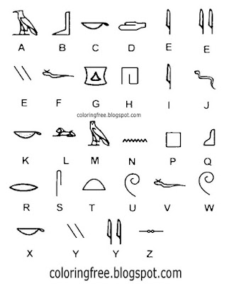 Alphabet letter symbols Egyptian hieroglyphs drawing writing system Egypt coloring for teenagers art