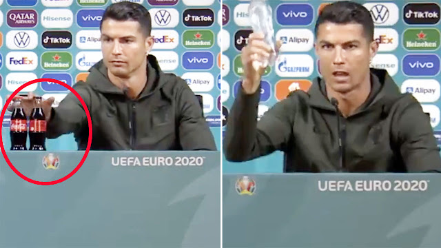 Christiano Ronaldo removes Coca-Cola Bottles