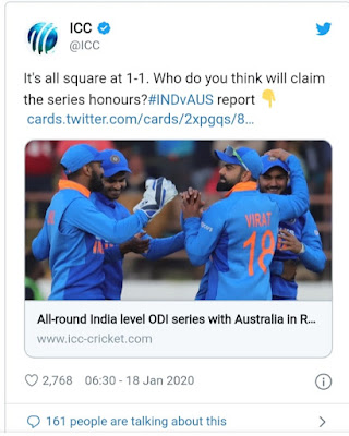 Today's Match Prediction Full preview   India vs Australia 3rd ODI Today Match Prediction 2020 and Today Match Prediction 2020.India vs Australia 3rd ODI Final series Today Match Prediction, Who Will Win IND VS AUS 2nd ODI 2020.  Australia tour in India 3rd ODI match 2020 Free Betting Tips. Team prediction for India vs Australia playing XI. Cricket match live update.  The match was played in the India vs Australia 3rd odi 2020 toss prediction. Toss prediction free then read the full article.