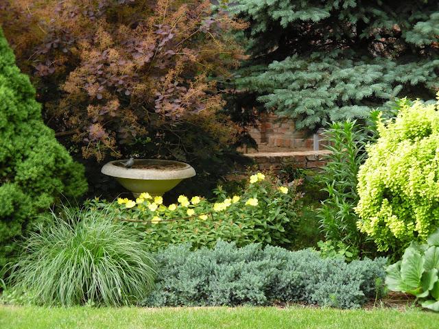 kamienne poidło w ogrodzie