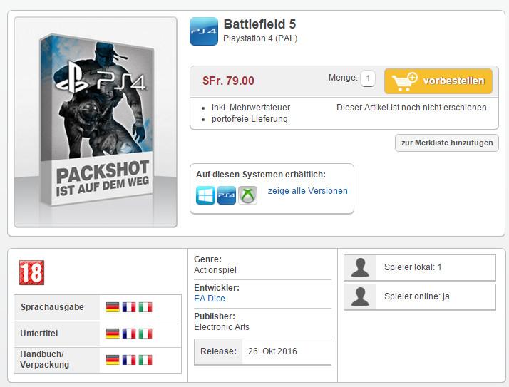 Battlefield 5 na primeira guerra mundial
