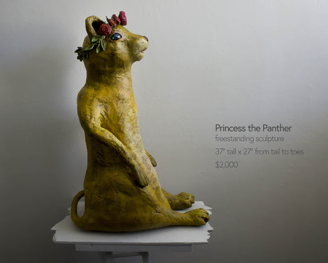 large freestanding panther sculpture