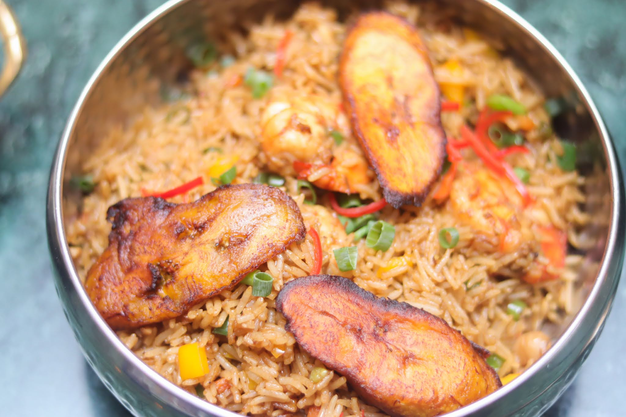 fried plantain and fried rice