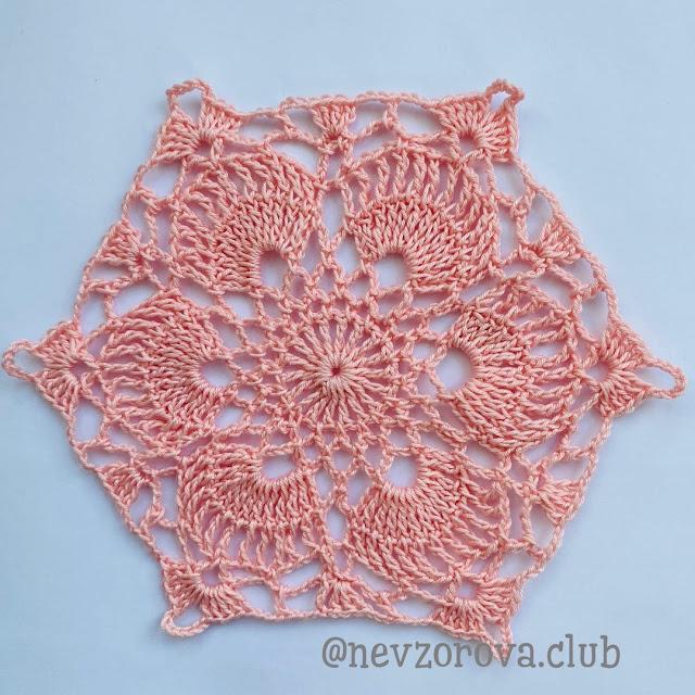 Motivo de Crochê Hexagonal