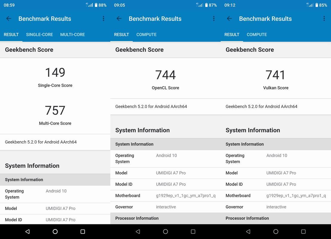 Benchmark Geekbench 5 Umidigi A7 Pro