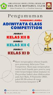 Pengumuman Pemenang Adiwiyata Class Competition