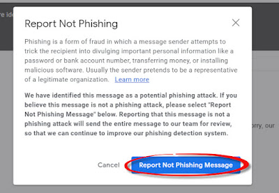 Report Not Phishing Message