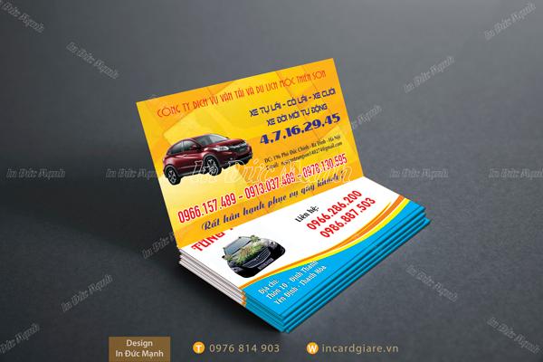 Mẫu card visit Taxi Dịch vụ xe Thiên Sơn