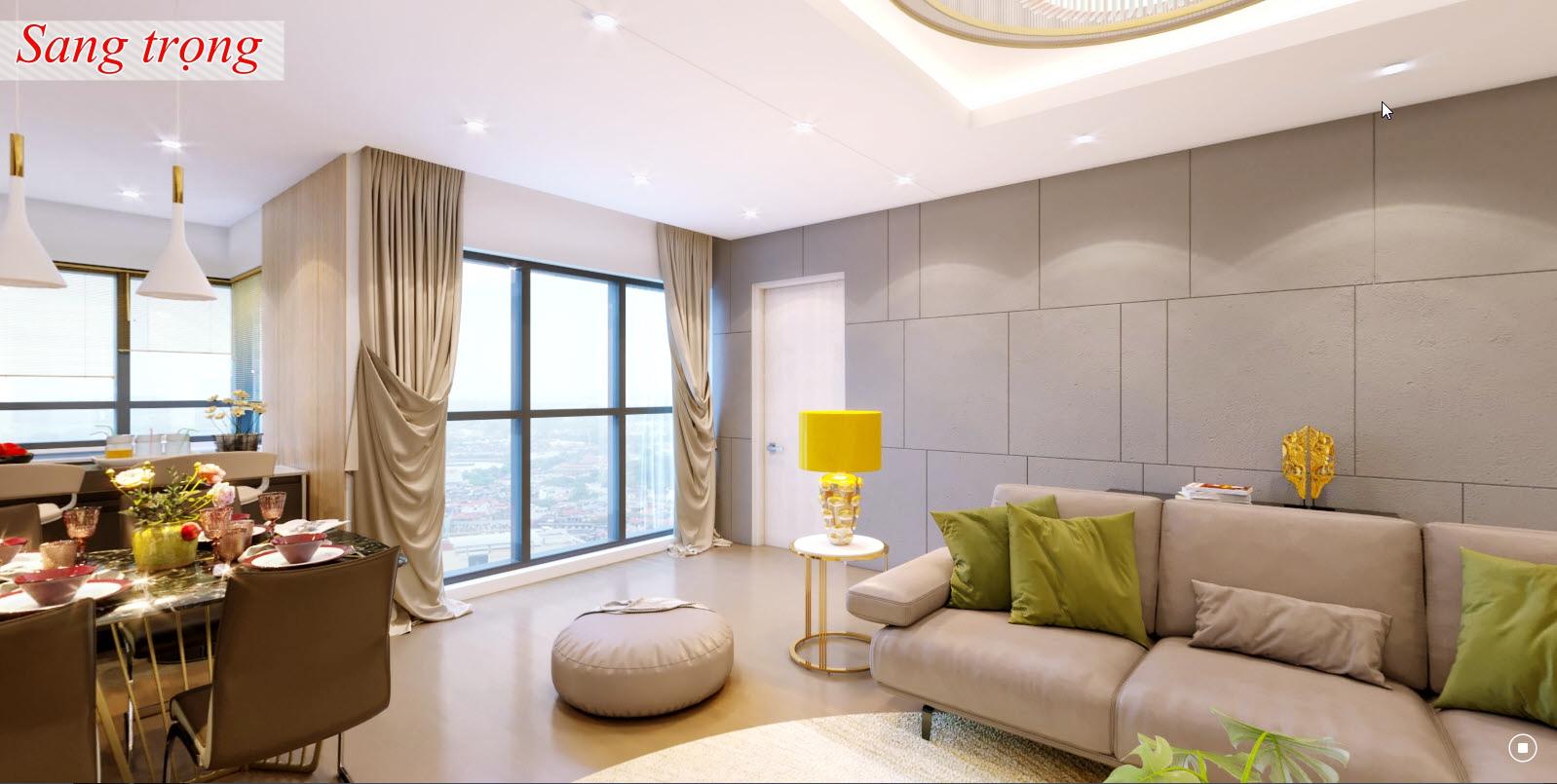 Phòng khách sang trọng của chung cư Amber Riverside