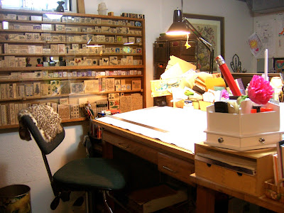 rubber stamp wall cabinet and drafting table