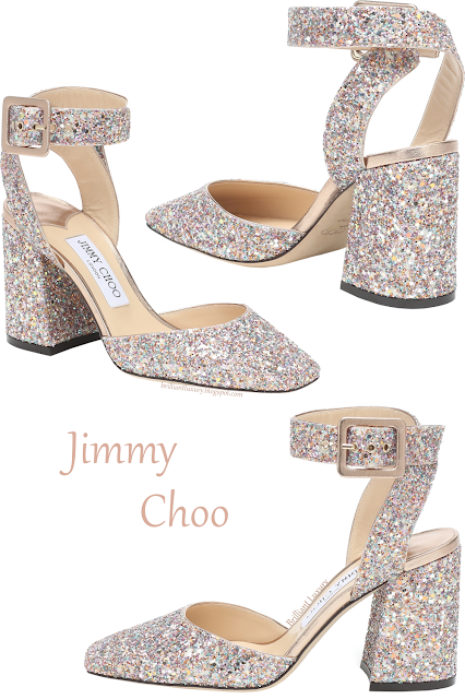 Jimmy Choo Jinn colorful sparkling glitter ankle wrap block-heel pumps #brilliantluxury