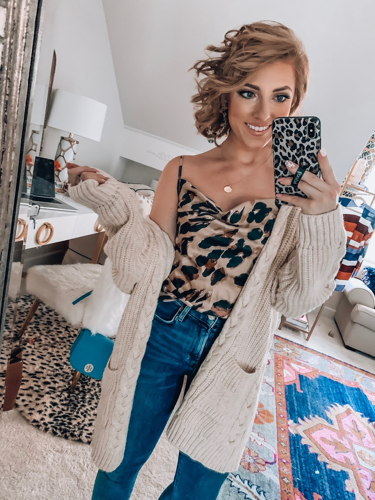 $16 Leopard Cami + Under $30 Braided Cardigan - The Perfect look for transitioning into fall - Recent Amazon Finds - Something Delightful Blog