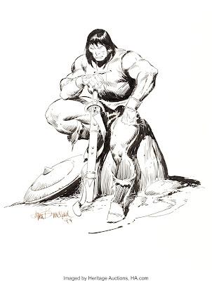 Illustration en noir et blanc de Conan, assis sur un rocher, sombre et menaçant avec son épéé