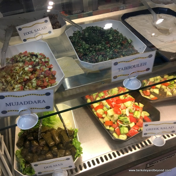 salad case at Babalou's Mediterranean in Walnut Creek, California