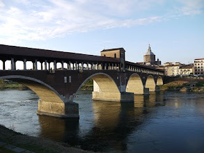 The covered bridge linking Pavia with the area known as Borgo Ticino