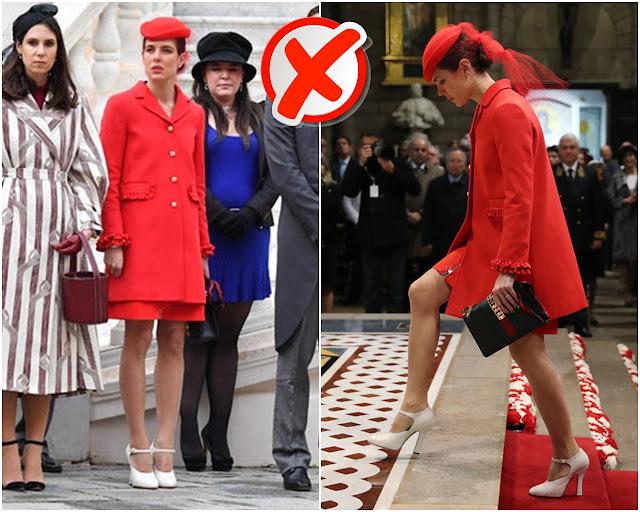 Charlotte de Mónaco con un conjunto en rojo y tocado
