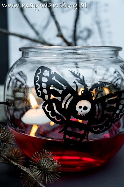 Kerzenglas mit Totenkopffalter-Aufkleber