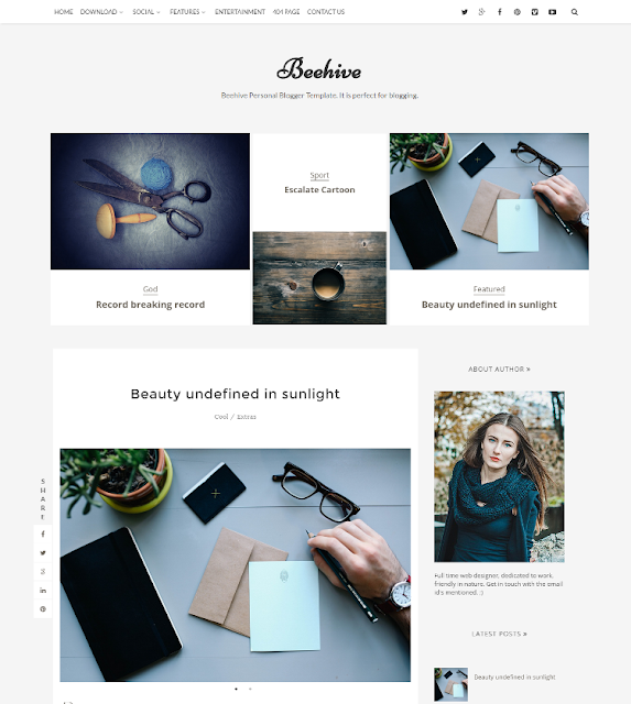 Beehive - Personal Blogger Template