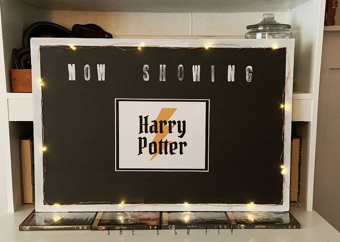 Harry Potter printable on movie marquee sign.