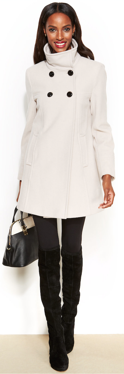 Larry Levine Double Breasted wool blend trapeze coat
