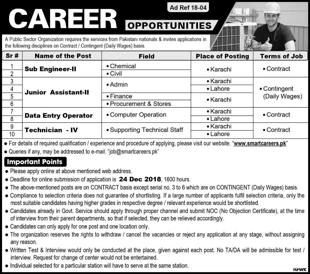 Jobs Vacancies In Public Sector Organization 09 December 2018