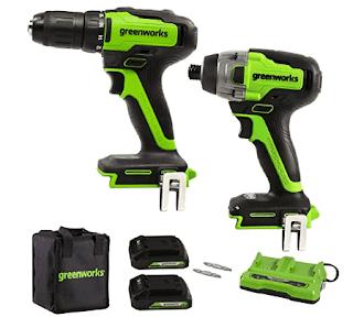 $139, Greenworks 24V Brushless Drill / Driver + Impact Driver