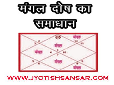 mangal dosh ka jyotish samadhan