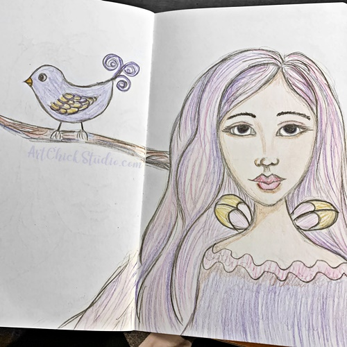 Fairy Girl and Her Little Bird - Art Chick Studio